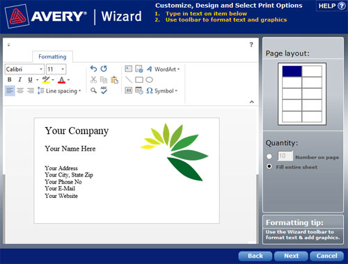 Avery Wizard 5.0 - Etiketten-Assistent für Microsoft Office Word Excel